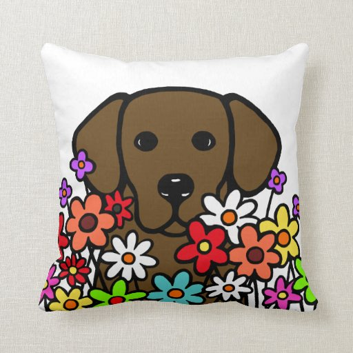 Beautiful Soul Chocolate Labrador Illustration Throw Pillow