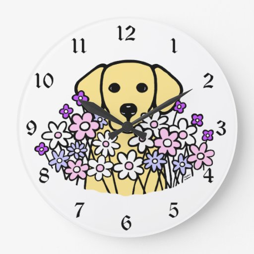 Beautiful Soul Yellow Labrador Illustration 2 Large Clock