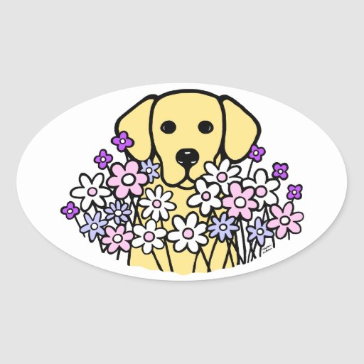 Beautiful Soul Yellow Labrador Illustration 2 Oval Sticker