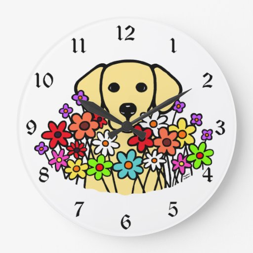 Beautiful Soul Yellow Labrador Illustration Large Clock