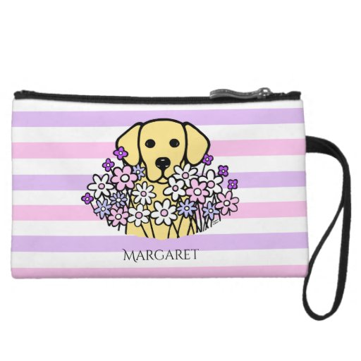 Beautiful Soul Yellow Labrador Stripes Pouch Wristlet