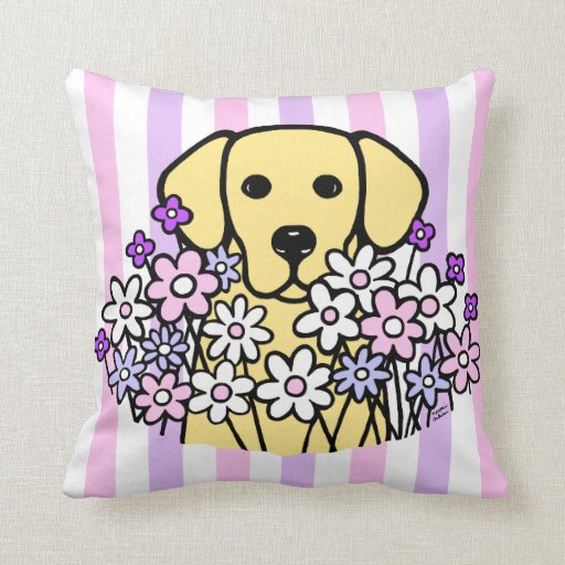 Beautiful Soul Yellow Labrador Stripes Throw Pillow