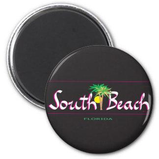 Beautiful South Beach -T-shirt, FL 2 Inch Round Magnet