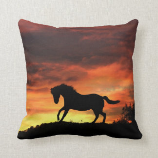 Beautiful Southwestern Colors Horse and Sunset Throw Pillow