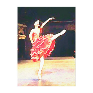 Beautiful Spanish Ballerina in Red Wrapped Canvas