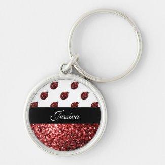 Beautiful Sparkling red sparkles Ladybird Ladybug Keychain