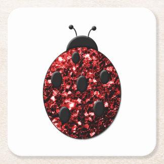 Beautiful Sparkling red sparkles Ladybird Ladybug Square Paper Coaster