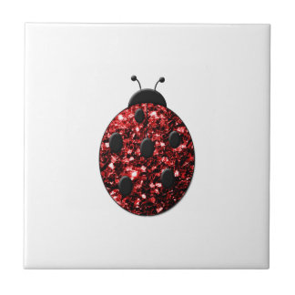 Beautiful Sparkling red sparkles Ladybird Ladybug Ceramic Tile
