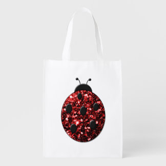 Beautiful Sparkling red sparkles Ladybird Ladybug Market Tote
