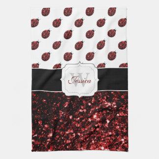 Beautiful Sparkling red sparkles Ladybugs Monogram Towels