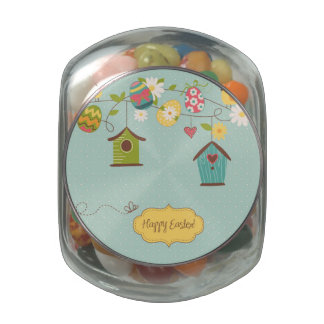 Beautiful Spring Background with Bird Houses Glass Candy Jar