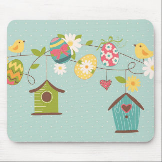 Beautiful Spring Background with Bird Houses Mouse Pad