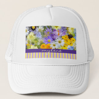 Beautiful Spring Flowers Collage Violet Yellow Trucker Hat