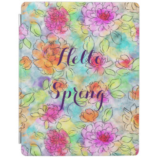 Beautiful  spring flowers watercolor paint iPad smart cover