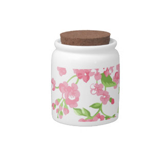 Beautiful Spring pink watercolor peach flowers Candy Jar