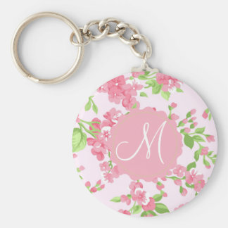 Beautiful Spring pink watercolor peach flowers Keychain