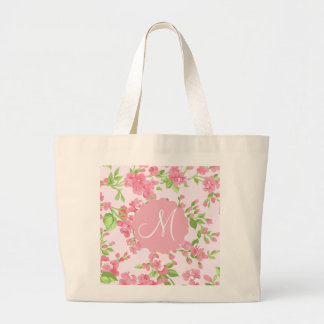 Beautiful Spring pink watercolor peach flowers Large Tote Bag