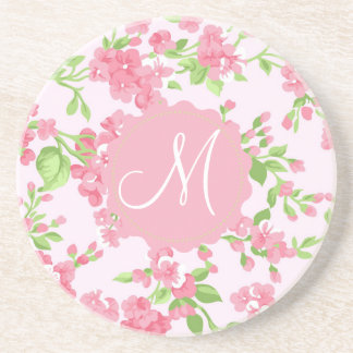 Beautiful Spring pink watercolor peach flowers Sandstone Coaster