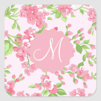Beautiful Spring pink watercolor peach flowers Square Sticker