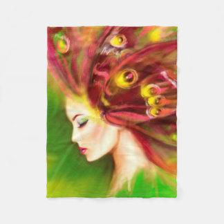 Beautiful Spring Summer woman butterfly Fleece Blanket