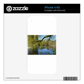 beautiful spring willow trees by water pond. decals for iPhone 4