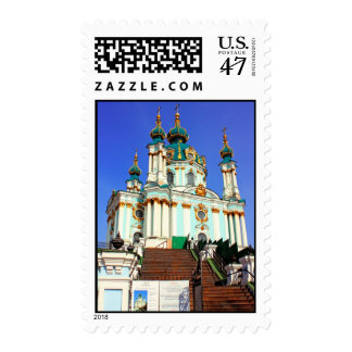 Beautiful St. Andrew's Cathedral in Kiev history t Stamp