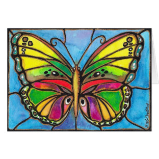 Beautiful Stained Glass Butterfly Watercolor Art! Greeting Card