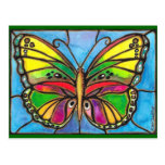 Beautiful Stained Glass Butterfly Watercolor Art! Post Card