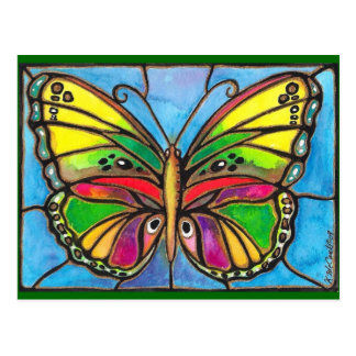 Beautiful Stained Glass Butterfly Watercolor Art! Postcard