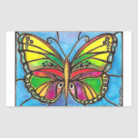 Beautiful Stained Glass Butterfly Watercolor Art! Rectangle Stickers