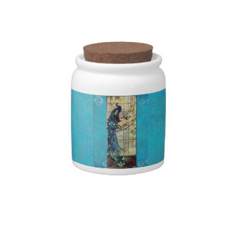 Beautiful Stained Glass Peacock Candy Jar