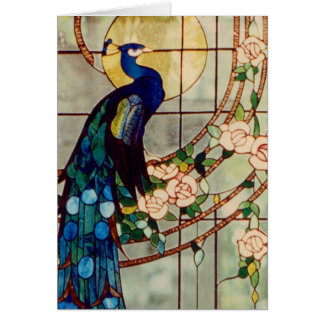 Beautiful Stained Glass Peacock Card