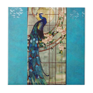 Beautiful Stained Glass Peacock Ceramic Tile