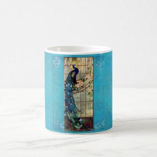 Beautiful Stained Glass Peacock Coffee Mug