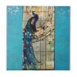 Beautiful Stained Glass Peacock Small Square Tile
