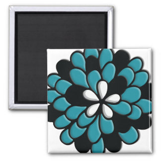 Beautiful Stained Glass Teal Torquoise Flower Fridge Magnets