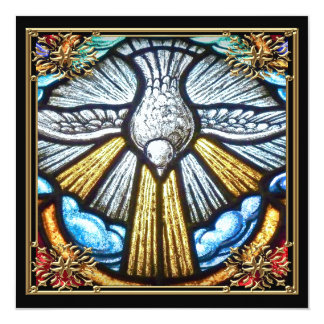 Beautiful Stained Glass Window Dove Mourning Cards Custom Invites