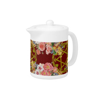 Beautiful Star Of David With Flowers On Maroon Teapot at Zazzle