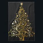 "Beautiful starry metallic gold Christmas tree Towel<br><div class=""desc"">Beautiful starry metallic gold Christmas tree</div>"