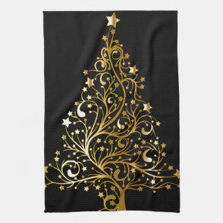 Beautiful starry metallic gold Christmas tree Towel