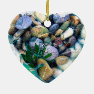 Beautiful Stone Heart Ceramic Ornament