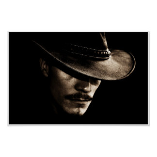 beautiful stranger vintage style cowboy poster