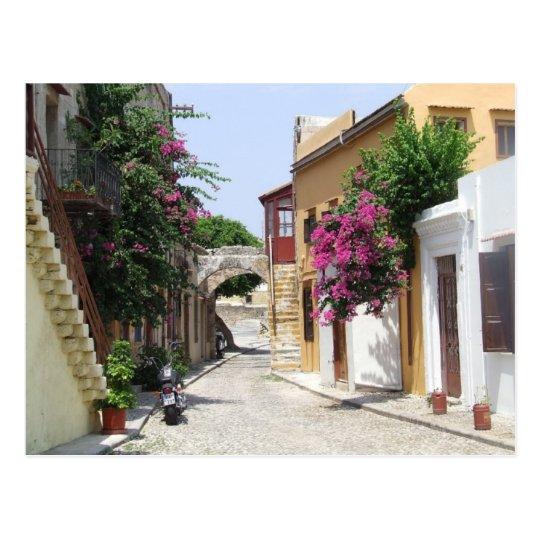 Beautiful Street in Rhodes Old Town Postcard