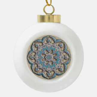 Beautiful stylized flower Chinese round ornament
