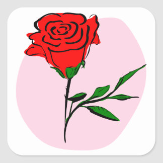 Beautiful Stylized Red Rose on Pink Background Square Sticker