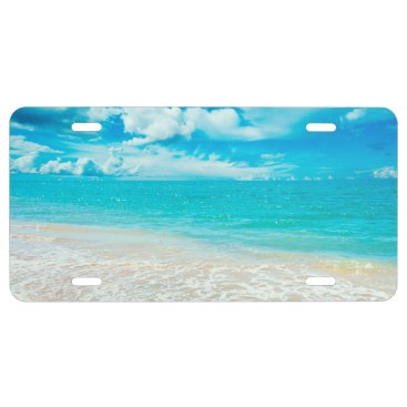 Beach Themed Beautiful Summer Beach 1 License Plate