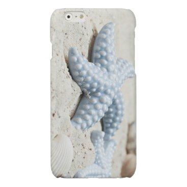 Beach Themed Beautiful summer beach sea star shell and sand glossy iPhone 6 case