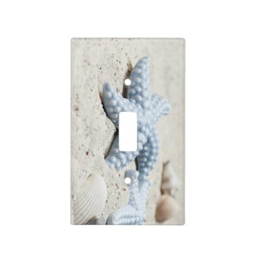 Beautiful summer beach sea star shell and sand light switch cover