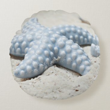 Beach Themed Beautiful summer beach sea star shell and sand round pillow