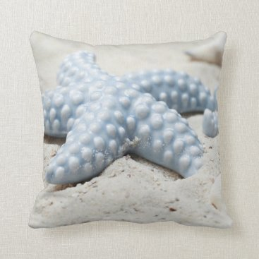 Beach Themed Beautiful summer beach sea star shell and sand throw pillow